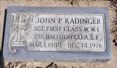KADINGER, JOHN P - Minnehaha County, South Dakota   JOHN P KADINGER - South Dakota Gravestone Photos