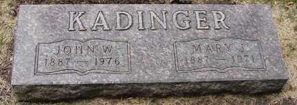 KADINGER, JOHN W. - Minnehaha County, South Dakota | JOHN W. KADINGER - South Dakota Gravestone Photos