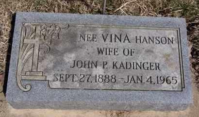 KADINGER, VINA - Minnehaha County, South Dakota   VINA KADINGER - South Dakota Gravestone Photos