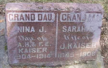 KAISER, SARAH E. - Minnehaha County, South Dakota | SARAH E. KAISER - South Dakota Gravestone Photos