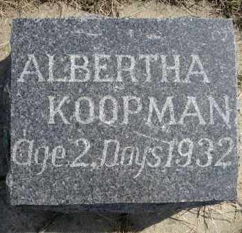 KOOPMAN, ALBERTHA - Minnehaha County, South Dakota | ALBERTHA KOOPMAN - South Dakota Gravestone Photos