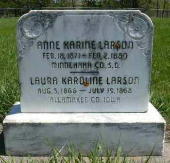 LARSON, LAURA KAROLINE - Minnehaha County, South Dakota | LAURA KAROLINE LARSON - South Dakota Gravestone Photos