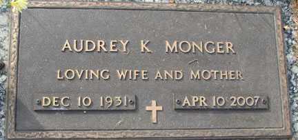 MONGER, AUDREY K. - Minnehaha County, South Dakota | AUDREY K. MONGER - South Dakota Gravestone Photos