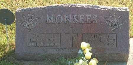 MONSEES, ADA D. - Minnehaha County, South Dakota | ADA D. MONSEES - South Dakota Gravestone Photos