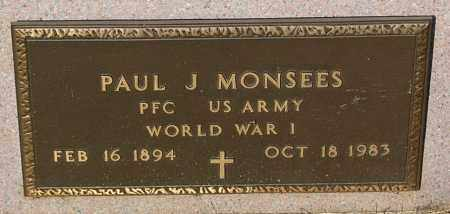 MONSEES, PAUL J. (WW I) - Minnehaha County, South Dakota | PAUL J. (WW I) MONSEES - South Dakota Gravestone Photos