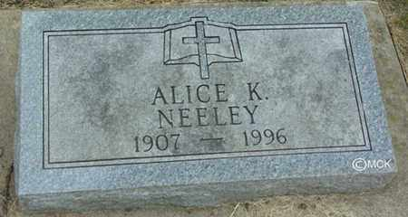NEELEY, ALICE K. - Minnehaha County, South Dakota | ALICE K. NEELEY - South Dakota Gravestone Photos