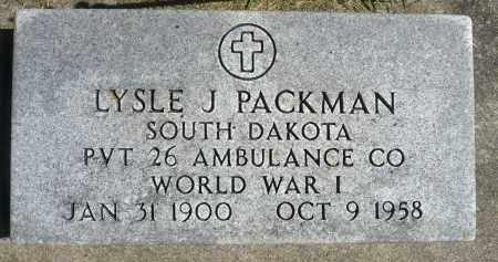PACKMAN, LYSLE J. (WWI) - Minnehaha County, South Dakota   LYSLE J. (WWI) PACKMAN - South Dakota Gravestone Photos