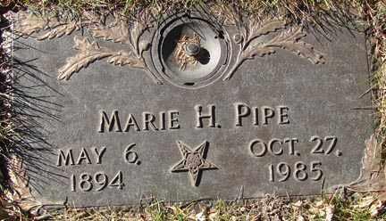 PIPE, MARIE H. - Minnehaha County, South Dakota | MARIE H. PIPE - South Dakota Gravestone Photos
