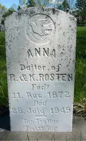 ROSTEN, ANNA - Minnehaha County, South Dakota | ANNA ROSTEN - South Dakota Gravestone Photos