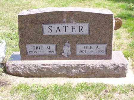 SATER, OBIE M. - Minnehaha County, South Dakota   OBIE M. SATER - South Dakota Gravestone Photos