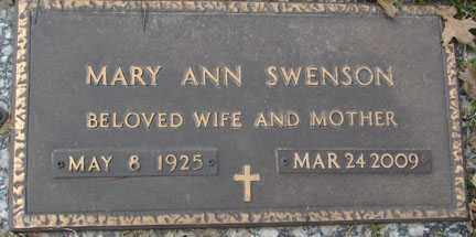 BARTUNEK SWENSON, MARY ANN - Minnehaha County, South Dakota | MARY ANN BARTUNEK SWENSON - South Dakota Gravestone Photos