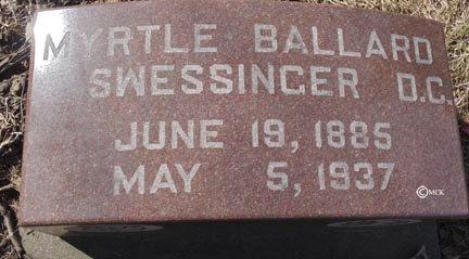 BALLARD SWESSINGER, MYRTLE - Minnehaha County, South Dakota   MYRTLE BALLARD SWESSINGER - South Dakota Gravestone Photos