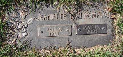 THOMPSON, JEANETTE M. - Minnehaha County, South Dakota | JEANETTE M. THOMPSON - South Dakota Gravestone Photos
