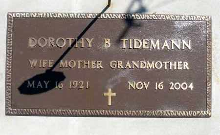 TIDEMANN, DOROTHY B. - Minnehaha County, South Dakota | DOROTHY B. TIDEMANN - South Dakota Gravestone Photos