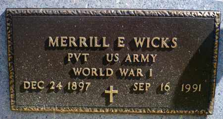 WICKS, MERRILL E. (WWI) - Minnehaha County, South Dakota | MERRILL E. (WWI) WICKS - South Dakota Gravestone Photos