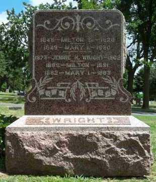 WRIGHT, JENNIE H, - Minnehaha County, South Dakota | JENNIE H, WRIGHT - South Dakota Gravestone Photos