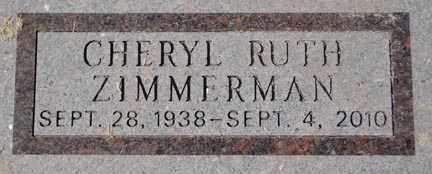 ZIMMERMAN, CHERYL RUTH - Minnehaha County, South Dakota | CHERYL RUTH ZIMMERMAN - South Dakota Gravestone Photos
