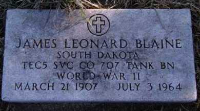 BLAINE, JAMES LEONARD - Moody County, South Dakota | JAMES LEONARD BLAINE - South Dakota Gravestone Photos