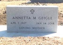 GEIGLE, ANNETTA M. - Pennington County, South Dakota   ANNETTA M. GEIGLE - South Dakota Gravestone Photos