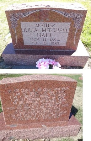 MITCHELL HALL, JULIA - Pennington County, South Dakota   JULIA MITCHELL HALL - South Dakota Gravestone Photos