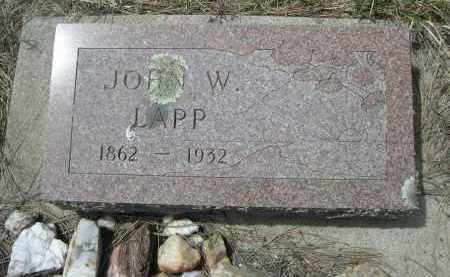 LAPP, JOHN W. - Pennington County, South Dakota | JOHN W. LAPP - South Dakota Gravestone Photos