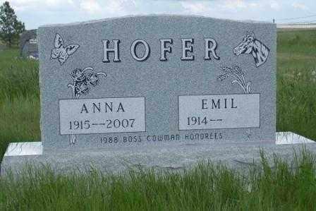 HOFER, ANNA - Perkins County, South Dakota | ANNA HOFER - South Dakota Gravestone Photos