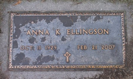 ELLINGSON, ANNA K - Roberts County, South Dakota | ANNA K ELLINGSON - South Dakota Gravestone Photos