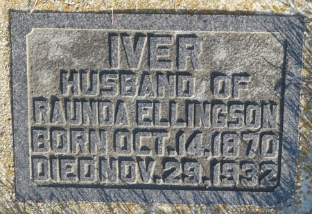 ELLINGSON, IVER - Roberts County, South Dakota   IVER ELLINGSON - South Dakota Gravestone Photos