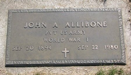 ALLIBONE, JOHN A. (MILITARY) - Turner County, South Dakota | JOHN A. (MILITARY) ALLIBONE - South Dakota Gravestone Photos
