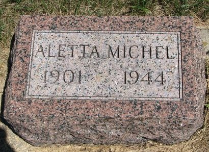 ANDERSON, ALETTA MICHEL - Turner County, South Dakota | ALETTA MICHEL ANDERSON - South Dakota Gravestone Photos
