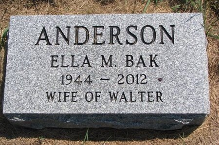 BAK ANDERSON, ELLA M. - Turner County, South Dakota | ELLA M. BAK ANDERSON - South Dakota Gravestone Photos