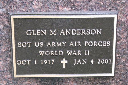 ANDERSON, GLEN M. (MILITARY) - Turner County, South Dakota   GLEN M. (MILITARY) ANDERSON - South Dakota Gravestone Photos