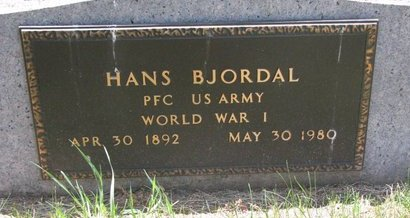 BJORDAL, HANS (MILITARY) - Turner County, South Dakota | HANS (MILITARY) BJORDAL - South Dakota Gravestone Photos