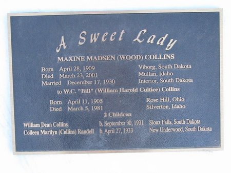 COLLINS, MAXINE M. (CLOSE UP) - Turner County, South Dakota | MAXINE M. (CLOSE UP) COLLINS - South Dakota Gravestone Photos