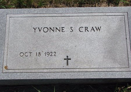 CRAW, YVONNE S. - Turner County, South Dakota | YVONNE S. CRAW - South Dakota Gravestone Photos