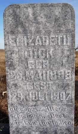 DICK, ELIZABETH - Turner County, South Dakota | ELIZABETH DICK - South Dakota Gravestone Photos