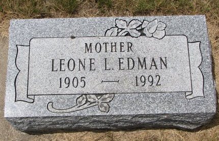 EDMAN, LEONE L. - Turner County, South Dakota   LEONE L. EDMAN - South Dakota Gravestone Photos