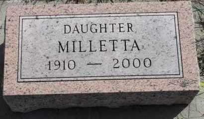 HANSEN, MILLETTA - Turner County, South Dakota | MILLETTA HANSEN - South Dakota Gravestone Photos