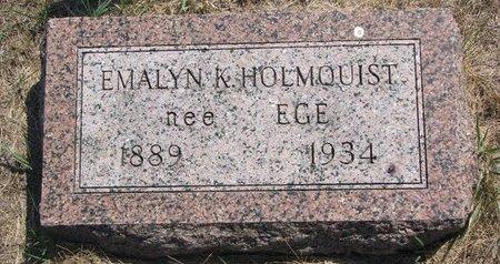 EGE HOLMQUIST, EMALYN K. - Turner County, South Dakota   EMALYN K. EGE HOLMQUIST - South Dakota Gravestone Photos