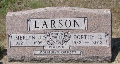 LARSON, MERLYN J. - Turner County, South Dakota | MERLYN J. LARSON - South Dakota Gravestone Photos
