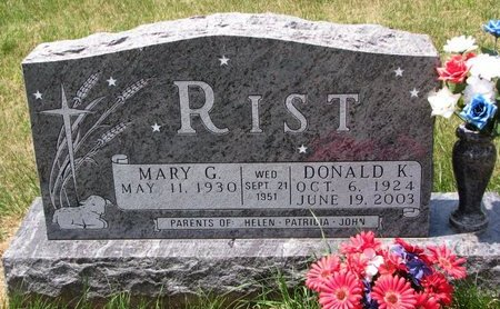 RIST, DONALD K. - Turner County, South Dakota | DONALD K. RIST - South Dakota Gravestone Photos