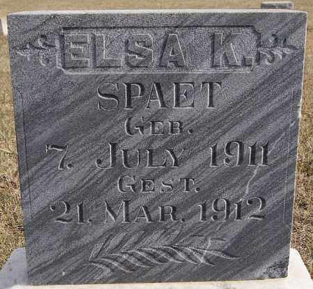 SPAET, ELSA K - Turner County, South Dakota | ELSA K SPAET - South Dakota Gravestone Photos
