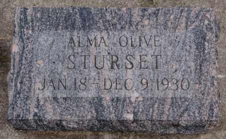 STURSET, ALMA OLIVE - Turner County, South Dakota | ALMA OLIVE STURSET - South Dakota Gravestone Photos