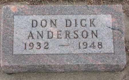 ANDERSON, DON DICK - Union County, South Dakota | DON DICK ANDERSON - South Dakota Gravestone Photos