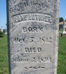AUTHIER, RANE (CLOSEUP) - Union County, South Dakota   RANE (CLOSEUP) AUTHIER - South Dakota Gravestone Photos