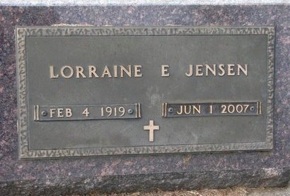 JENSEN, LORRAINE ELEANOR - Union County, South Dakota | LORRAINE ELEANOR JENSEN - South Dakota Gravestone Photos