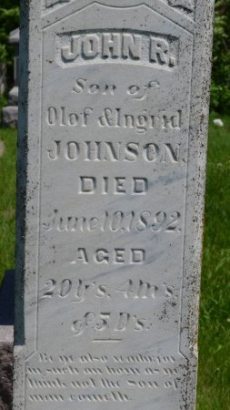 JOHNSON, JOHN R. (CLOSE UP) - Union County, South Dakota | JOHN R. (CLOSE UP) JOHNSON - South Dakota Gravestone Photos