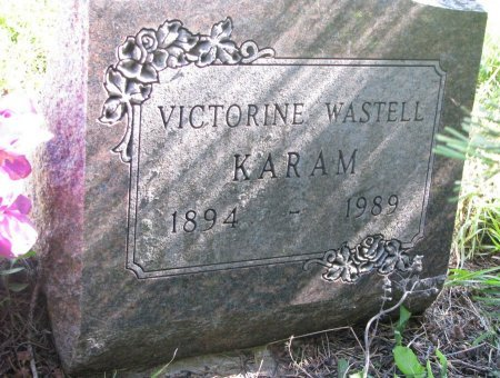 WASTELL KARAM, VICTORINE - Union County, South Dakota   VICTORINE WASTELL KARAM - South Dakota Gravestone Photos
