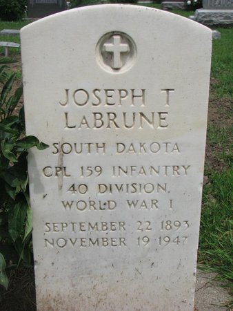 LABRUNE, JOSEPH T. (WORLD WAR I) - Union County, South Dakota | JOSEPH T. (WORLD WAR I) LABRUNE - South Dakota Gravestone Photos