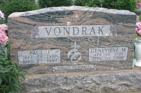 VONDRAK, GENEVIEVE M. - Union County, South Dakota | GENEVIEVE M. VONDRAK - South Dakota Gravestone Photos